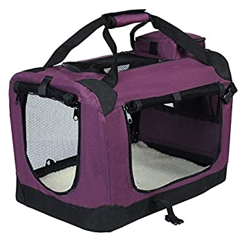 EUGAD 0120HT Cage de Transport en Oxford Sac de Transport Pliable pour Chien ou Chat,Violet 70x52x52cm