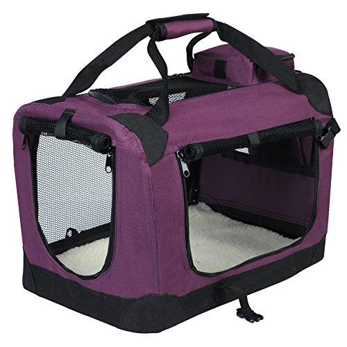 EUGAD 0108HT Hundebox faltbar Hundetransportbox Auto Transportbox Reisebox Katzenbox Violett 49,5 x 34,5 x 35 cm