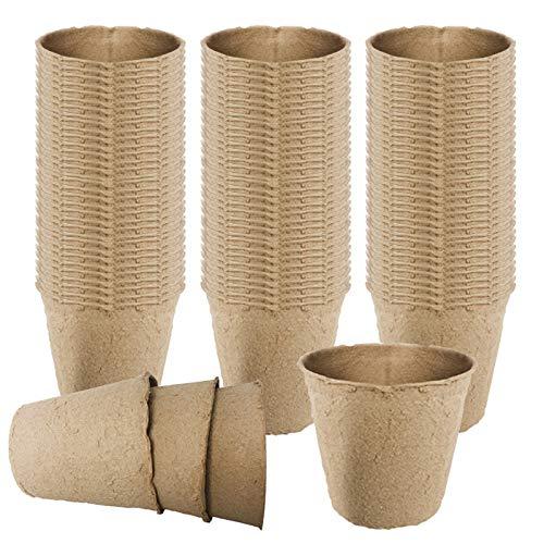 LWAN3 100 macetas de fibra biodegradables de 6 cm, sin turba de madera para semilleros de repuesto de semillas y corte