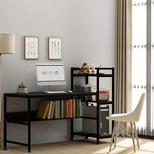 Computer-Schreibtisch mit 4 Ablagen – 104,7 cm Student Studiertisch mit Bücherregal, moderner Holzschreibtisch mit Stahlrahmen für kleine Räume, Home Office, Arbeitsplatz, Walnuss