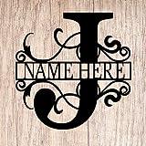 AJD Designs Personalized Last Name J Door Hanger - 20' Metal Monogram Door Hanger- Metal Last Name Sign - Split Letter Monogram - Initial Door Wreath - Last Name Wall Decor - Metal Wall Decor - Gift