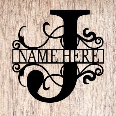 AJD Designs Personalized Last Name J Door Hanger - 20' Metal Monogram Door Hanger- Metal Last Name...