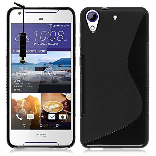 VComp-Shop® S-Line TPU Silikon Handy Schutzhülle für HTC Desire 500 + Mini Eingabestift + GRATIS Displayschutzfolie - SCHWARZ