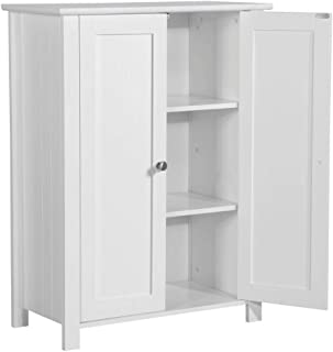 Yaheetech Bathroom Floor Storage Cabinet Space Saver Organizer Double Door Adjustable Shelf 23.6in L x 11.8in W x 31.5in H