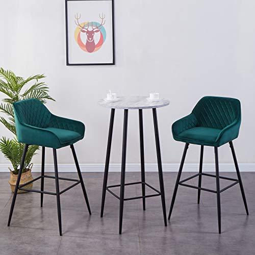 JYMTOM Barhocker 2er Set Barstuhl Küchenstühle mit Rückenlehne, Fußstütze, Armlehnen Metall Tresenhocker,Grün