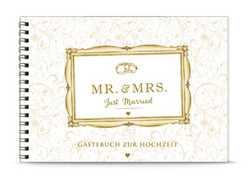 GÄSTEBUCH Hochzeit MR & MRS JUST MARRIED CREME Vintage • Für Hochzeitsgäste Selbstbeschreiben malen & bekleben von eigenen Fotos • Papier matt DIN A5 Spiralgebunden 148,5 x 210 mm