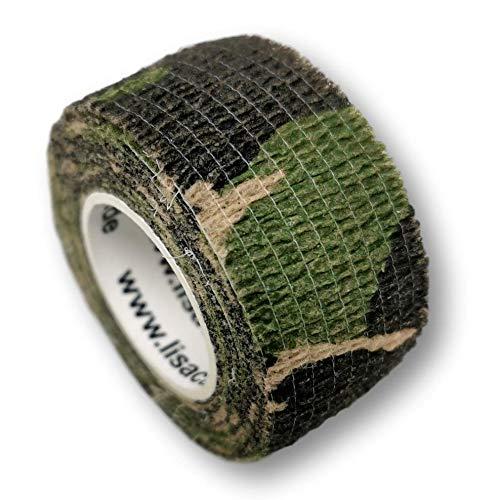 Pflasterverband, Wundpflaster, Kinderpflaster, Tierpflaster, elastisch & ohne Kleber, 2,5cm breit (2er Packung, Camouflage grün))