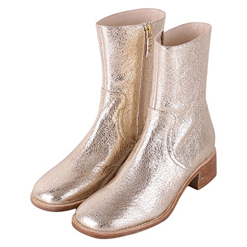 Twin Set Damen Cs8pa3 Kurzschaft Stiefel, Gold (Platino), 39 EU