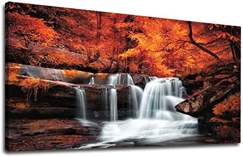 Large Canvas Wall Art Waterfall Autumn Red Forest Landscape Picture Stream River Scenery Painting product image