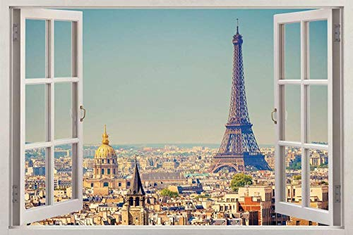 Pegatinas de pared Tower Paris 3D Ventana Vista Calcomanía PEGATINA DE PARED Decoración Art Mural H66 Póster Arte 3D Mural 50x70cm