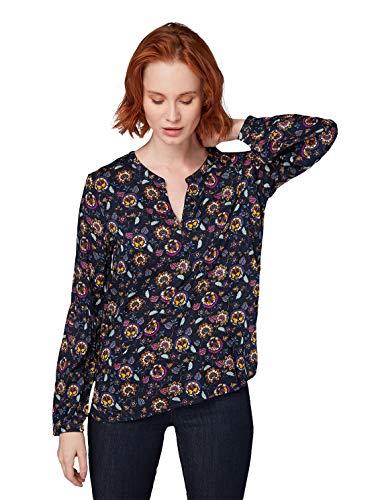 TOM TAILOR Damen Langarm Bluse, Tunika mit Blümchen Druck, Langarmshirt, Mehrfarbig (Floral Paisley AOP N 14138), 38