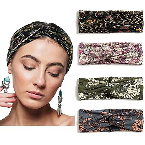 Oulyfuyo Haarband Damen Boho Muster Bedruckt Verdreht Stirnband Damen 4 Stück Elastische Weiche Haarreifen Damen Kosmetik Breit Haarbänder für Alltag Sport Yoga Fitness