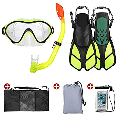 Odoland 5-in-1 Snorkeling Packages, Full Face Snorkel Mask with Adjustable Swim Fins and Lightweight Backpack and Waterproof Case - GoPro Compatible,Yellow