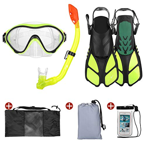 Odoland 6-in-1 Kids Snorkeling Packages Snorkel Set, Anti-Fog and Anti-Leak Full Face Snorkel Mask with Adjustable Swim Fins, Beach Blanket and Waterproof Case for Boys and Girls Age 9-15 Yellow