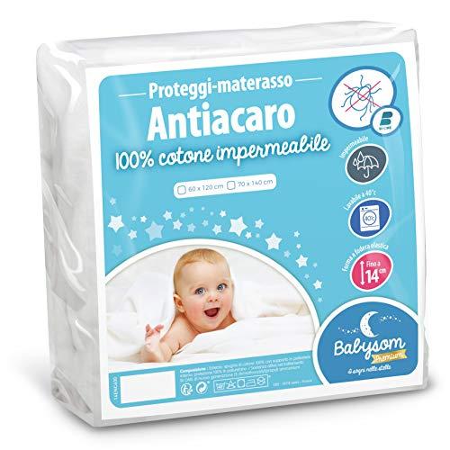 Babysom - Coprimaterasso per Bambino / Proteggi materasso Lettino per Neonato - Antiacari - 60x120 cm - Impermeabile - 100% Cotone - Traspirante -Elasticizzato e Silenzioso