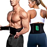 GuildreyTex Waist Trainer Belt for Women & Men, Weight Loss Workout, Slimming Body Sweat Wrap for Tummy, Back Support for Sport - M Black