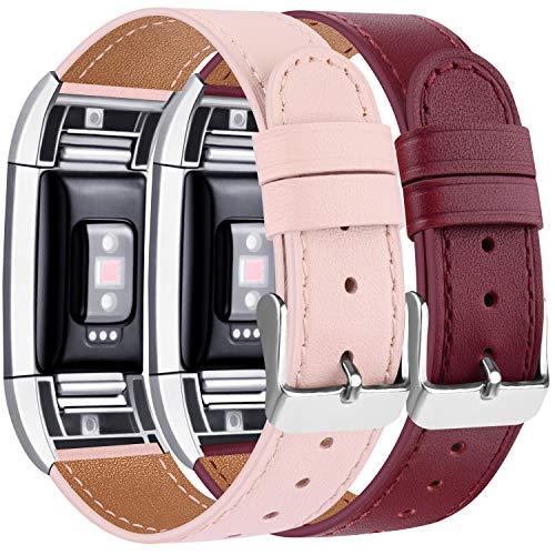 Yandu - Cinturino di ricambio per Fitbit Charge 2 in pelle, classico, regolabile, accessori per il fitness, connettori in metallo (2 pezzi, rosso vino + rosa)