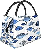Paquete multifuncional con cremallera para oficina de trabajo escolar, acuario azul peces lonchera, lonchera, bolsa de comida, bolsa de aislamiento portátil