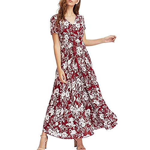 yanghuakeshangmaoyouxiangong Langes Kleid Im Sommerstil Mit Losem BöHmischem Retro-Stil Im V-Ausschnitt Im Sommerstil