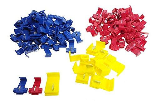 Preisvergleich Produktbild QIANGWEI 100 Abzweigverbinder / Schnellverbinder / Stromdiebe / Klemmverbinder (40x Rot 0, 5mm² - 1, 5mm² & 50x Blau 1, 5mm² - 2, 5mm² & 10x Gelb 2, 5mm² - 6, 0mm²)