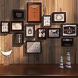 Marcos de fotos para pared multiples Montado en la pared del marco 13pieces Collage de imágenes de madera sólida combinación Portarretratos diseño de la pared de montaje ( Color : Wine red+black )