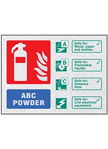 Caledonia Signs 51233 Fire ID-ABC Poeder Visual Impact Sign, c/w Stand off Locators, 200 mm x 150 mm