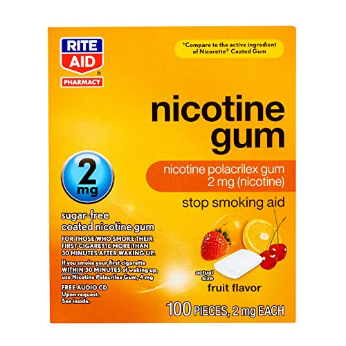 Rite Aid Nicotine Gum, 2mg, Fruit Flavor - 100 Pieces | Quit Smoking Aid | Nicotine Replacement Gum | Stop Smoking Aids That Work | Chewing Gum Packs to Help You Quit Smoking | Coated Nicotine Gum 2mg