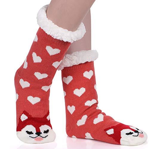 Tacobear Mujeres Gruesos lana calcetines de piso casa abrigados animal calcetines de...
