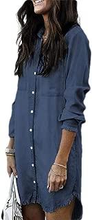 desolateness Womens Fashion Casual Long Sleeve Button Down Longline Denim Shirt