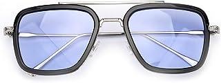 Retro Vintage Iron Man Sunglasses Tony Stark Glasses Square Metal Frame for Men Women Goggle Classic Alloy Frame