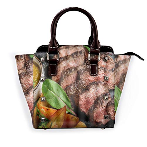 BROWCIN Saftiges Rumpsteak von Marble Beef Medium Rare mit Kartoffeln und Sauce auf Steinplatte Close Up Graphic Abnehmbare mode trend damen handtasche umhängetasche umhängetasche