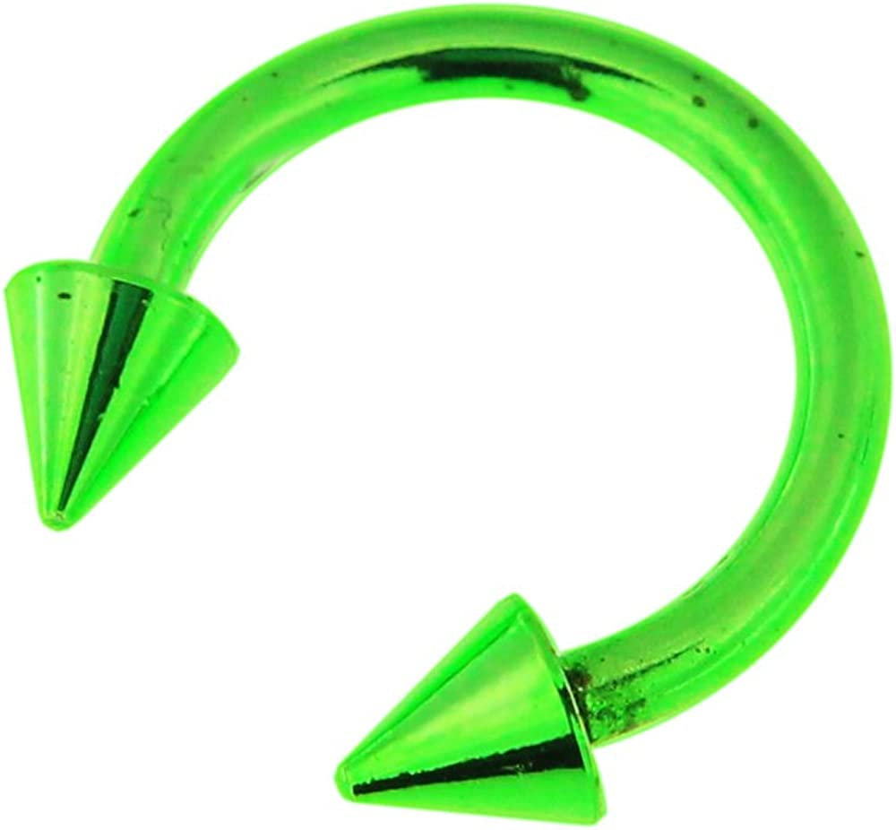 AtoZ Piercing Colorful Neon Anodized 16 Gauge 316L Surgical Steel CBB with Cone Body Jewelry