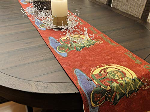 DaDa Bedding Santa Claus Table Runner - Holiday Red Merry Christmas Tapestry - Cotton Linen Woven Dining Mats (17615) (13x90)