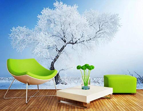 Fotomurali Murale 3D Brina Bianca Nevosa Di Inverno Carta Da Parati Muro 3D Soggiorno Camera da letto Wallpaper Home Decor 200cmx140cm