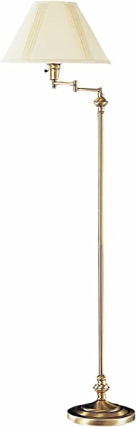 Antique Brass 150 Watt 59in Metal Swingarm Floor Lamp With 3 Way Switch And Round Hardback Linen Shade