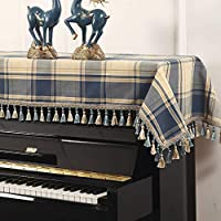 G-AO 格子ピアノダストカバーピアノアクセサリーピアノバッグ保護カバー布(色:ブルー、サイズ:シングルスツールカバー) G-AO (Size : Top)