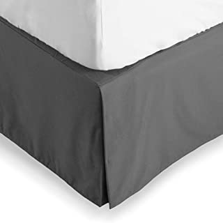 Bare Home Bed Skirt Double Brushed Premium Microfiber, 15-Inch Tailored Drop Pleated Dust Ruffle, 1800 Ultra-Soft Collection, Shrink and Fade Resistant (Queen, Grey)