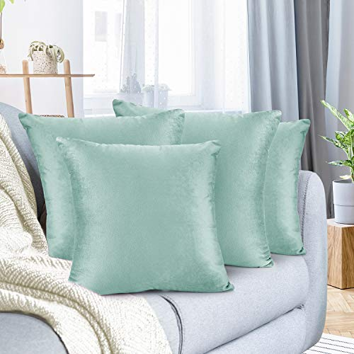 Nestl Throw Pillow Covers, Cozy Velvet Decorative Light Blue Pillow Covers 18x18 Inches, Soft Solid Couch Pillow Covers for Sofa, Bed and Car, Set of 4