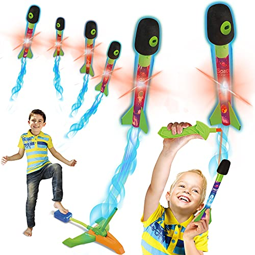 Toy Rocket Launcher for Kids - Slingshot Rockets Launchers Air Foam Rockets Games for Kids, Jump Rocket Set with 6 Foam and LED Light Rocket with Whistle, Outdoor Rocket Toy Gift for Boys and Girls