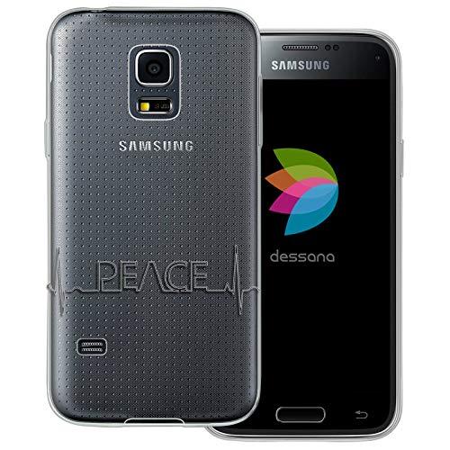 dessana - Cover trasparente per Samsung Galaxy S5 Mini con cuore e scritta 'Peace pace'