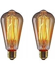エジソン電球60W KINGSO 口金E26 110V ヴィンテージ電球 アンティークスタイル タングステン フィラメント電球 タングステン ガラスライト ホーム照明 ソケット 電球 装飾用器具ST64-19型 2個入
