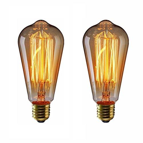 エジソン電球40W KINGSO 2個入E26 110V ST64-19アンカー ヴィンテージ アンティークスタイル タングステン フィラメント電球 タングステン ガラスライト ホーム照明 装飾用器具