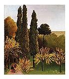 Cuadro en Lienzo Henri Rousseau Parc des Buttes Chaumont Lienzos Decorativos xxl, Cuadros Decoracion Salon, Decoracion de Pared,Laminas para Cuadros (30x36cm 12 'x14', sin marco)