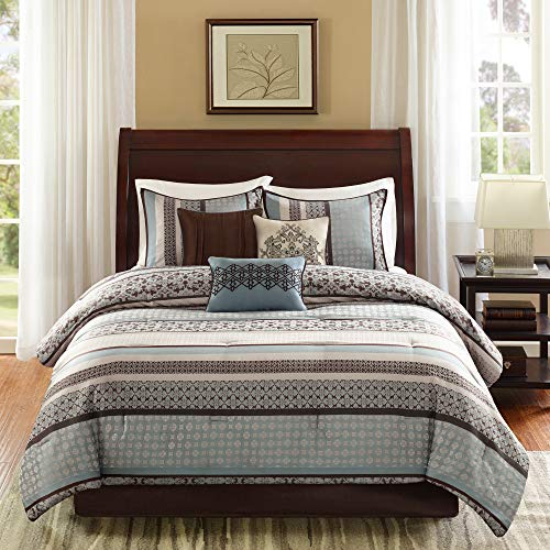 Madison Park Princeton King Size Bed Comforter Set Bed in A Bag - Teal, Jacquard Patterned Striped – 7 Pieces Bedding Sets – Ultra Soft Microfiber Bedroom Comforters