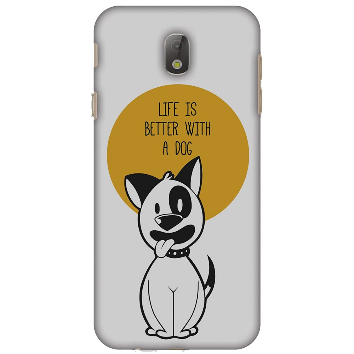 AMZER Slim Fit Handcrafted Designer Printed Hard Shell Case Back Cover Skin for Samsung Galaxy J7 Pro J730F - Life is Better with A Dog HD Color, Thin Protective Case