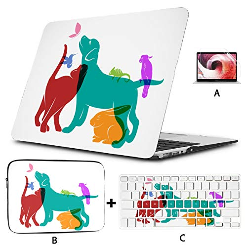 15 Inch Laptop Cover Vector Group of Pets Dog Cat Parrot Chameleon MacBook Pro 2015 Case Hard Shell Mac Air 11'/13' Pro 13'/15'/16' with Notebook Sleeve Bag for MacBook 2008-2020 V