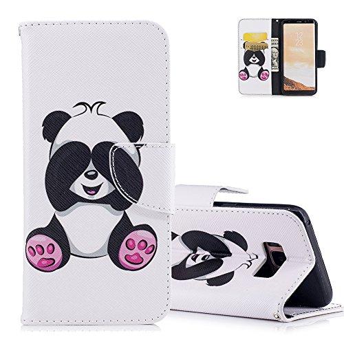 Aeeque Coque S8 Blanc, Cute Panda Motif Flip Pochette Etui a Rabat en Cuir Souple Anti Choc Anti-rayure Housse de Protection avec Magnetique/ Porte Carte Slot/ Fonction Support pour Samsung S8
