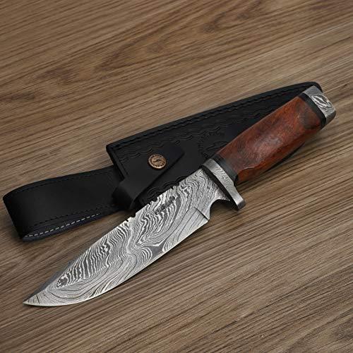 Perkin Damast Jagdmesser - Jagdmesser mit Scheide - 2213