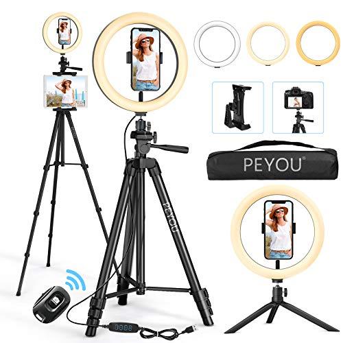 [2021 Versión Actualización] PEYOU 12'' LED Anillo de Luz con 50'' Trípode, Aro de Luz con Tableta/Móvil Soporte, Compatible con iPad/Teléfono/Cámara, para Maquillaje/Fotografía/Live/Víedo