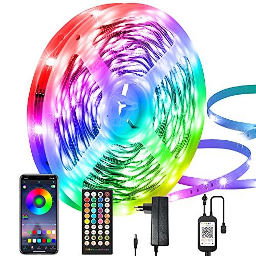 Tira de LEDs de 15 m, controlable por aplicación, tira de LEDs 5050 RGB, tira con mando a distancia de 40 teclas, sincronización musical, para la decoración de interiores